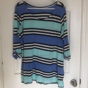Motherhood long striped cotton tunic
